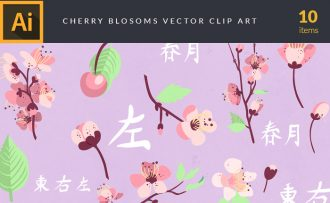Cherry Blossom Flowers Vector Pack Vector packs Cherry,Blossom,Flowers,vector,clipart,element,illustration
