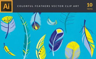 Colorful Feathers Vector Pack Vector packs Colorful,Feathers,vector,clipart,element,illustration