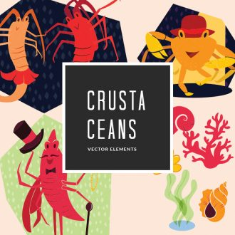 Crustaceans 9 Vector Pack Vector packs Crustaceans,,vector,clipart,element,illustration