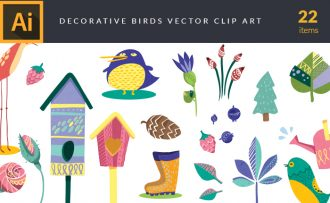 Decorative Birds Vector Pack Vector packs Decorative,Birds,vector,clipart,element,illustration