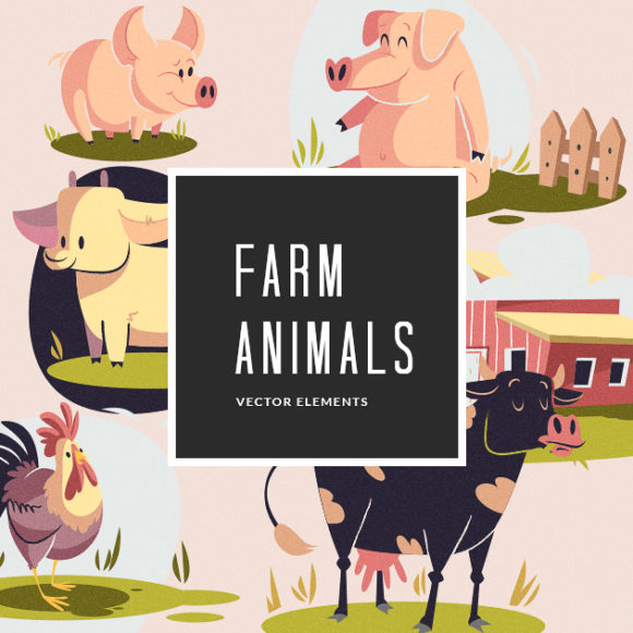 Illustrated Farm Animals   Vector Pack