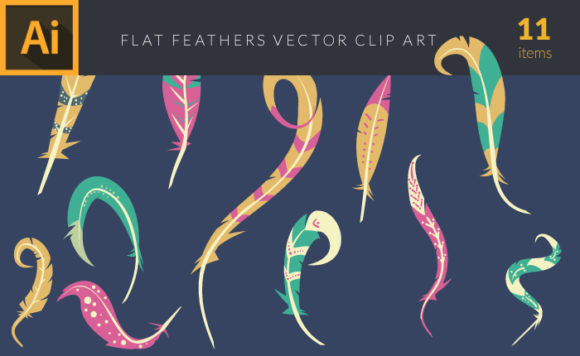 Colorful Illustrated Feathers | Vector Pack