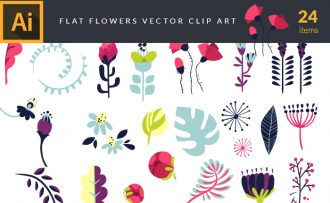 Flat Floral Vector Pack Vector packs Flat,Floral,vector,clipart,element,illustration