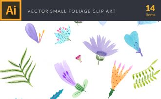 Foliage Tiny Flowers Vector Pack Vector packs Foliage,Tiny,Flowers,vector,clipart,element,illustration