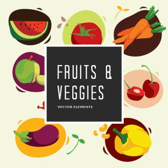 Fruits Vegetables Vector Pack Vector packs Fruits,Vegetables,vector,clipart,element,illustration