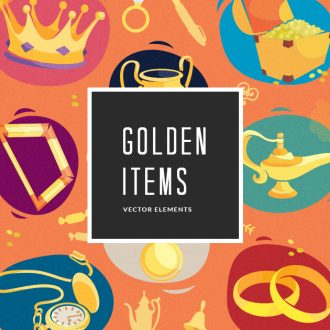 Golden Items Vector Pack Vector packs Golden,Items,vector,clipart,element,illustration