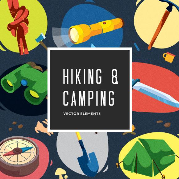 Colorful Hiking & Camping Symbols   Vector Pack