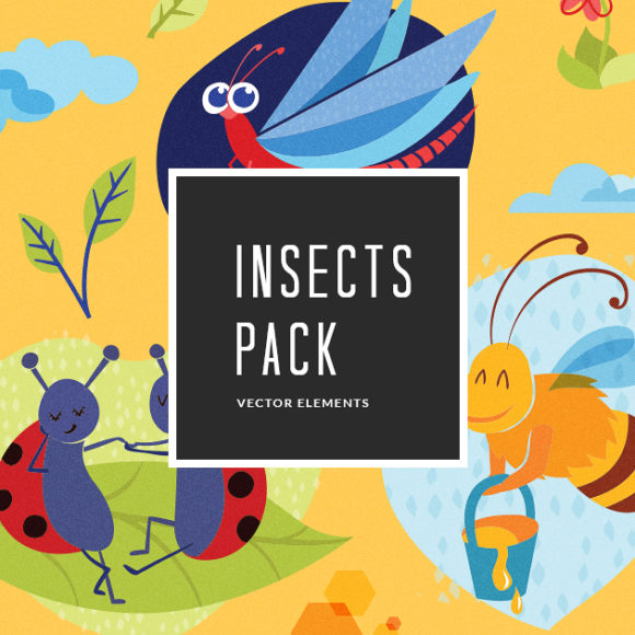 Colorful Cartoon Insects | Vector Pack