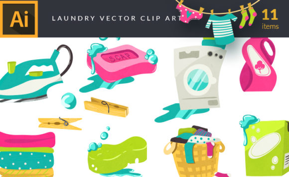 Colorful Illustrated Laundry Symbols | Vector Pack 5