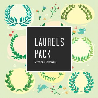 Illustrated Laurels Vector Pack