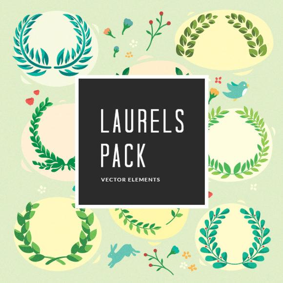 Illustrated Laurels Vector Pack