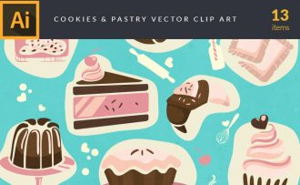 Pastry And Cookies Vector Pack Vector packs Pastry,And,Cookies,vector,clipart,element,illustration