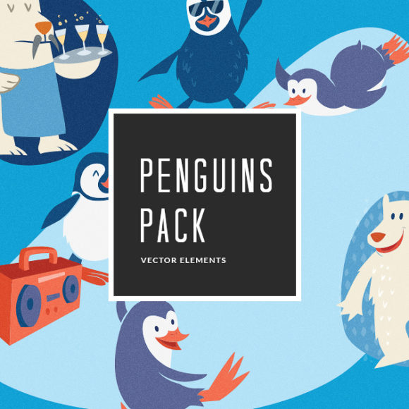 Illustrated Penguins Vector Pack