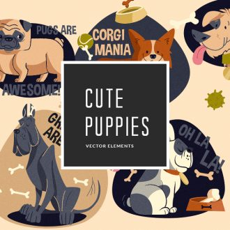 Puppies Vector Pack Vector packs Puppies,vector,clipart,element,illustration