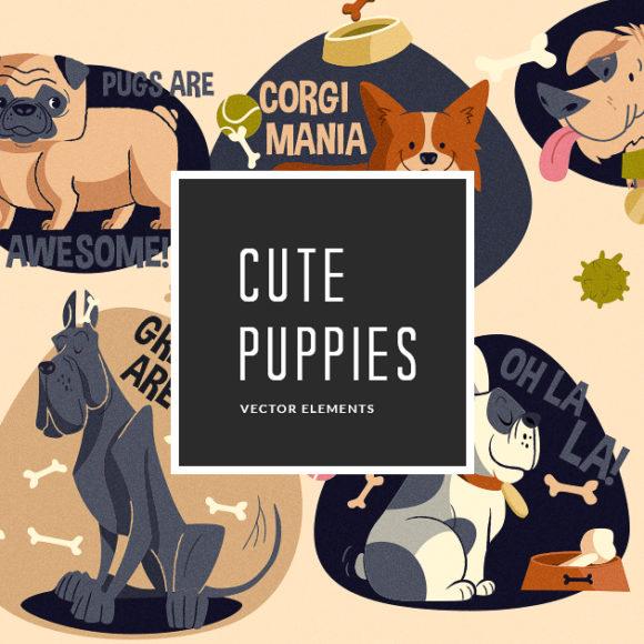 Puppies Vector Pack Vector packs Puppies,vector,clipart,element,illustration