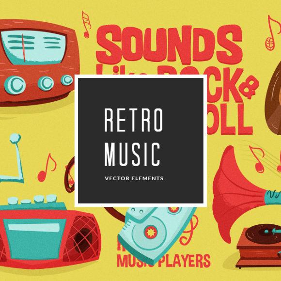 Retro Music Vector Pack Vector packs Retro,Music,vector,clipart,element,illustration