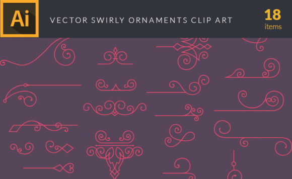 Swirly Ornaments Vector Pack Vector packs Swirly,Ornaments,vector,clipart,element,illustration