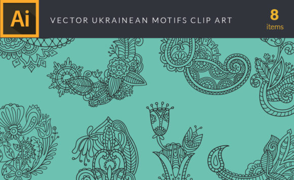 Ukrainean Motifs Vector Pack Vector packs Ukrainean,Motifs,vector,clipart,element,illustration