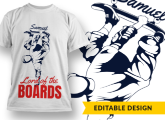 Lord of the boards (with name placeholder) T-shirt Designs and Templates leaf