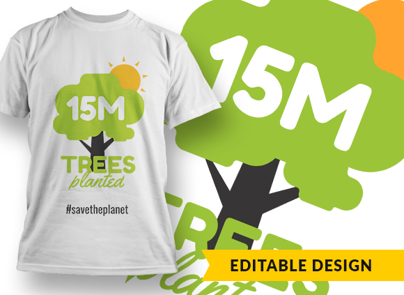 15M (placeholder) Trees planted and hashtag (placeholder) 1