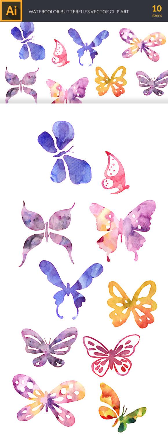 Watercolor Butterflies Vector Set Vector packs [tag]