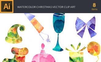 Watercolor Christmas Vector Set Vector packs [tag]