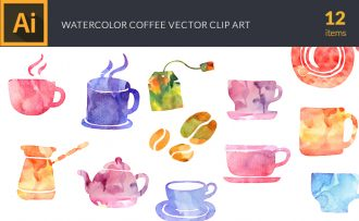 Watercolor Coffee Vector Set Vector packs [tag]