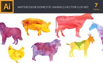 Watercolor Domestic  Animals Vector Set Vector packs [tag]