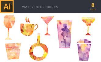 Watercolor Drinks Vector Set Vector packs [tag]