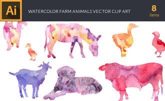 Watercolor Farm  Animals Vector Set Vector packs [tag]