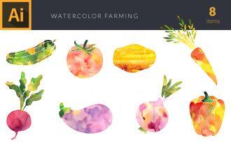 Watercolor Farming  Plants Vector Set Vector packs [tag]