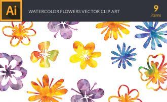 Watercolor Flowers Vector Set Vector packs [tag]