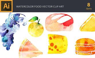 Watercolor Food Vector Set Vector packs [tag]