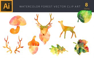 Watercolor Forest  2 Vector Set Vector packs [tag]