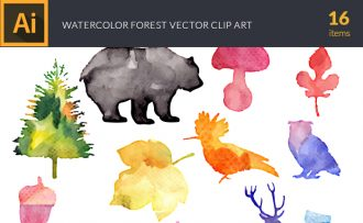 Watercolor Forest Vector Set Vector packs [tag]