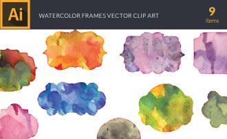Watercolor Frames Vector Set Vector packs [tag]