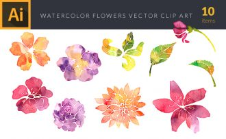Watercolor Garden  Flowers Vector Set Vector packs [tag]