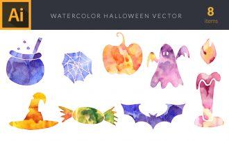 Watercolor Halloeween Vector Set Vector packs [tag]