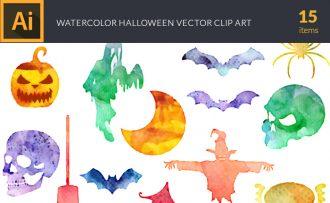 Watercolor Halloween  2 Vector Set Vector packs [tag]