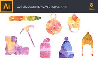Watercolor Hiking Vector Set Vector packs [tag]