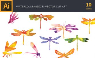 Watercolor Insects Vector Set Vector packs [tag]
