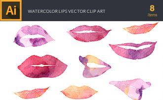 Watercolor Lips Vector Set Vector packs [tag]