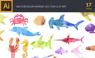 Watercolor Marine  Life Vector Set Vector packs [tag]