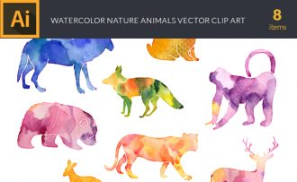 Watercolor Nature  Animals Vector Set Vector packs [tag]
