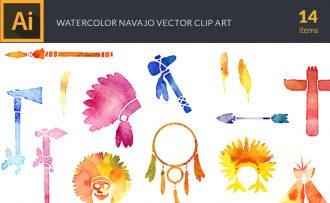 Watercolor Navajo Vector Set Vector packs [tag]