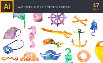 Watercolor Pirates Vector Set Vector packs [tag]