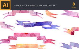 Watercolor Ribbon Vector Set Vector packs [tag]