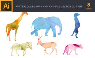 Watercolor Savannah  Animals Vector Set Vector packs [tag]