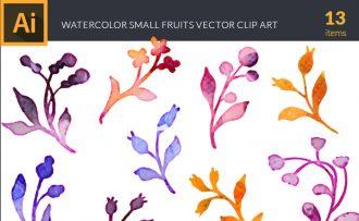 Watercolor Small  Fruits Vector Set Vector packs [tag]