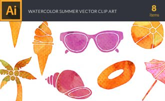 Watercolor Summer Vector Set Vector packs [tag]